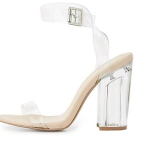 "Cupid ""On Point"" Trendy Clear Lucite Heels Comfy!"